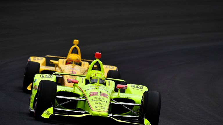 Simon Pagenaud, who starts on pole on Sunday, in practice action around the famous Indy oval