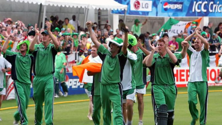 Ireland's players celebrate beating Pakistan during the 2007 World Cup