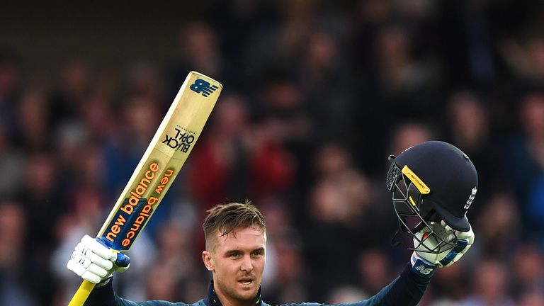 Roy celebrates his eighth one-day international hundred for England