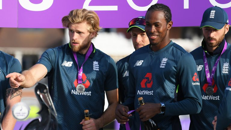 Jofra Archer (R) replaces David Willey (L) in England's squad for the ICC Cricket World Cup