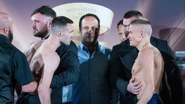 Josh Taylor and Ivan Baranchyk are held apart ahead of Saturday's fight