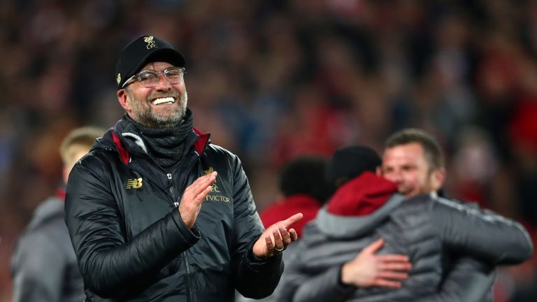 Jurgen Klopp leads the applause after Liverpool's epic comeback win over Barcelona