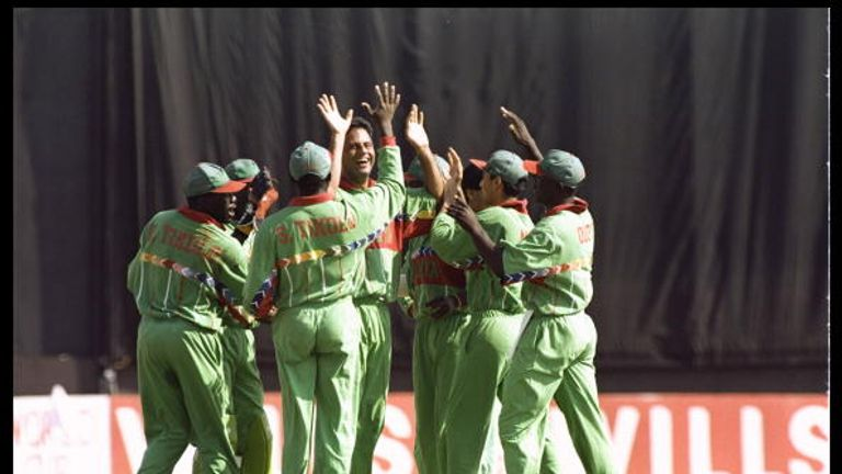Kenya pulled off a famous upset by defeating West Indies at Pune in 1996
