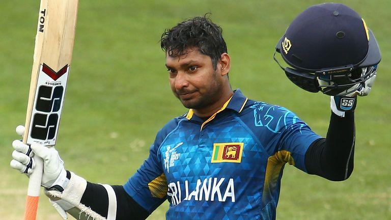 Kumar Sangakkara celebrates another hundred - this time against Scotland