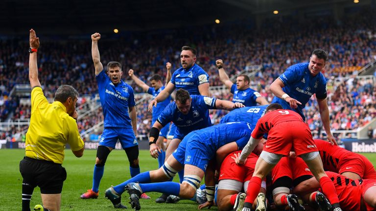 Leinster celebrate after Tadhg Furlong's first-half score