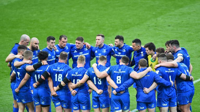 The Leinster players form a huddle on the St James' Park pitch