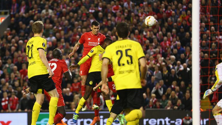 Lovren's header saw Klopp's Liverpool complete an unlikely comeback against Dortmund in the 2016 Europa League semi-final