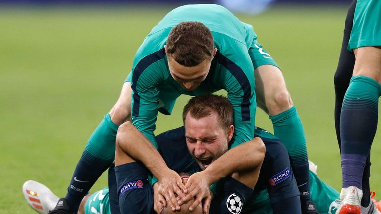Eriksen made 12 appearances for Spurs in the Champions League this season, scoring twice