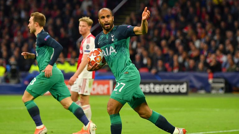 Lucas Moura of Tottenham Hotspur celebrates after scoring his team's first goal during the UEFA Champions League Semi Final second leg match between Ajax and Tottenham Hotspur at the Johan Cruyff Arena