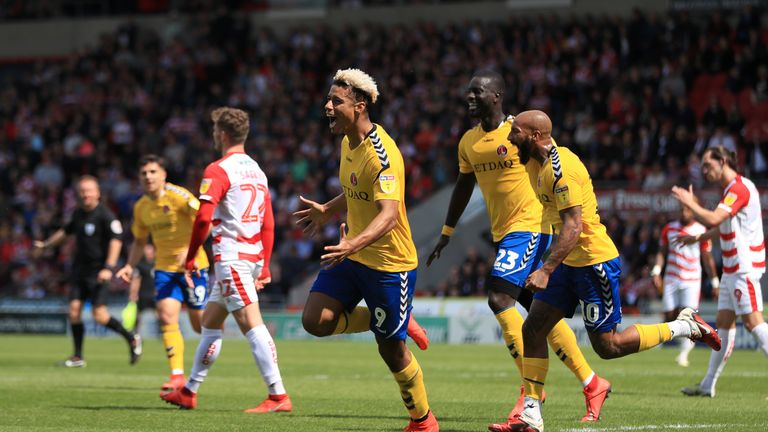 Charlton Athletic's Lyle Taylor celebrates scoring his side's first goal of the game
