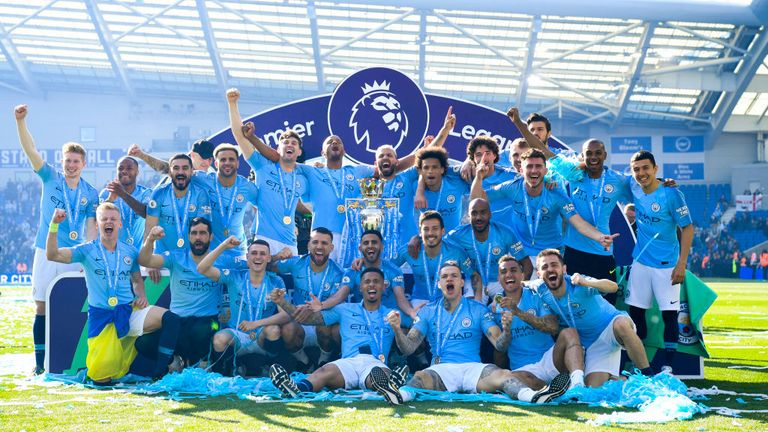 Manchester City clinched their fourth Premier League title on Sunday