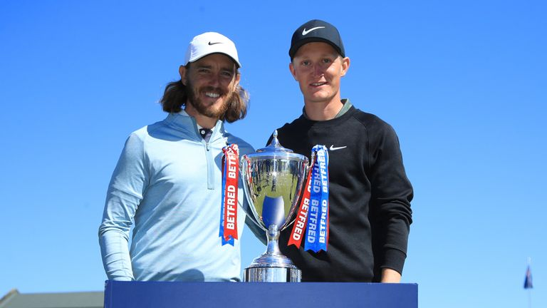 Tommy Fleetwood alongside tournament winner Marcus Kinhult