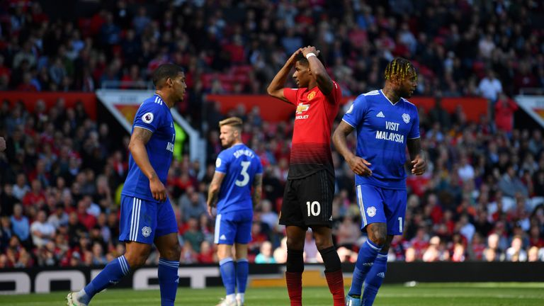 Marcus Rashford reacts to a missed chance during Sunday's 2-0 defeat to Cardiff