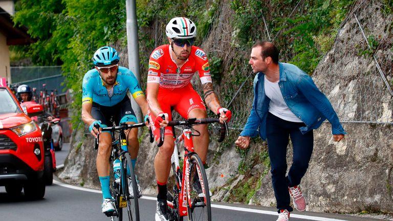 Mattia Cattaneo (R) finished second in stage 15 behind eventual winner Cataldo (L)