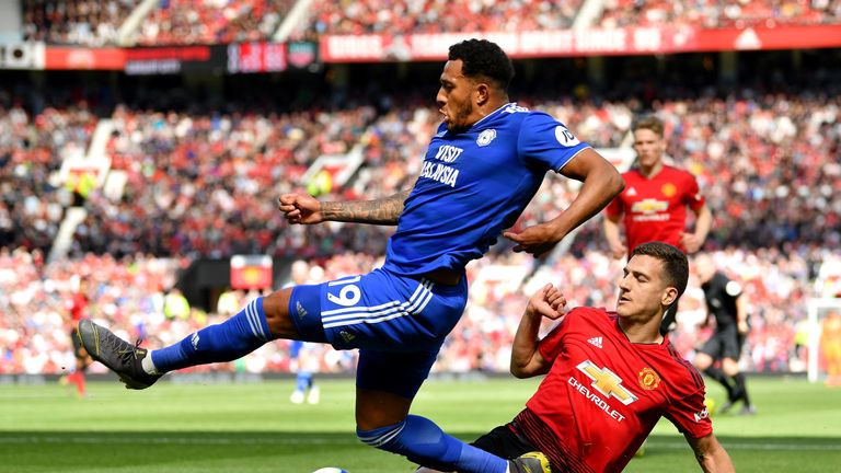 Nathaniel Mendez-Laing is challenged by Diogo Dalot during Cardiff's 2-0 win over Manchester United