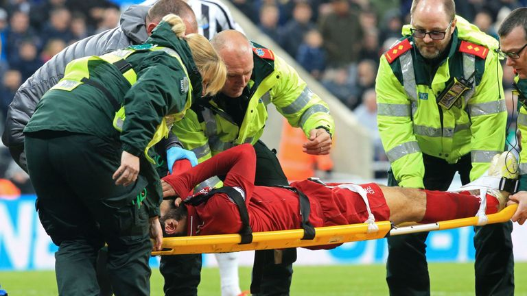 Mohamed Salah was carried off on a stretcher