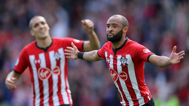 Nathan Redmond celebrates the opener against Huddersfield