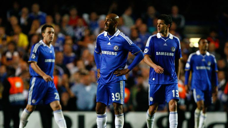 Nicolas Anelka cuts a dejected figure at full-time with Chelsea knocked out