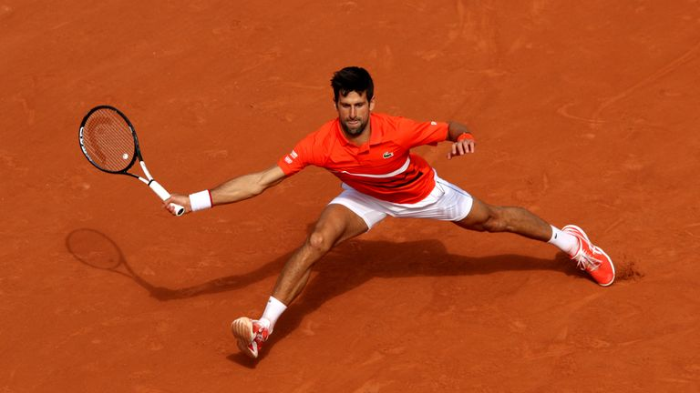Djokovic is out to add to his single French Open title and started with victory on Monday afternoon