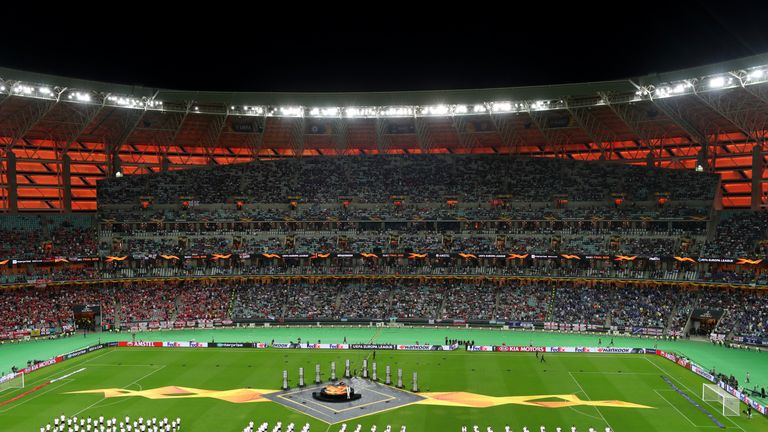 The Olympic Stadium in Baku has a  68,700 capacity, the attendance at the Europa League final was 51,370.