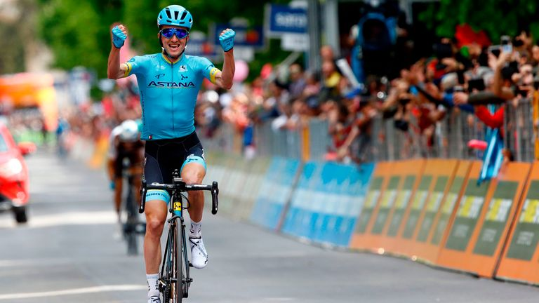 Pello Bilbao celebrates after winning stage seven