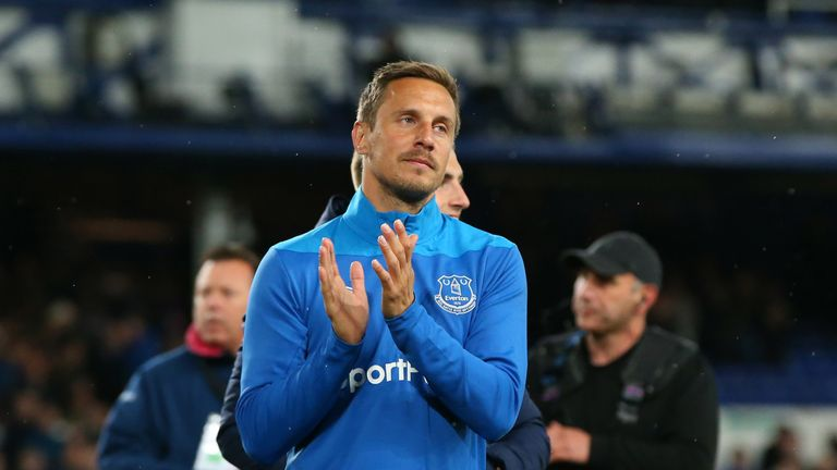 Jagielka applauds the Goodison Park after Everton's final home game of the 2018/19 season