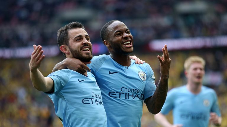 Raheem Sterling scored twice for Manchester City