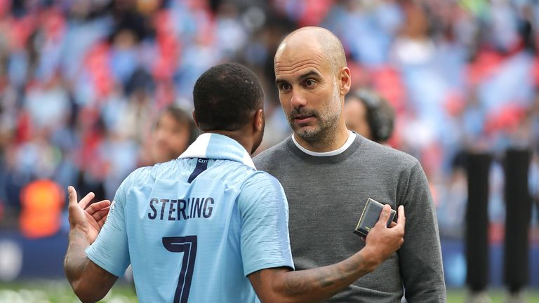 Pep Guardiola and Raheem Sterling had a lively conversation on the pitch after the match