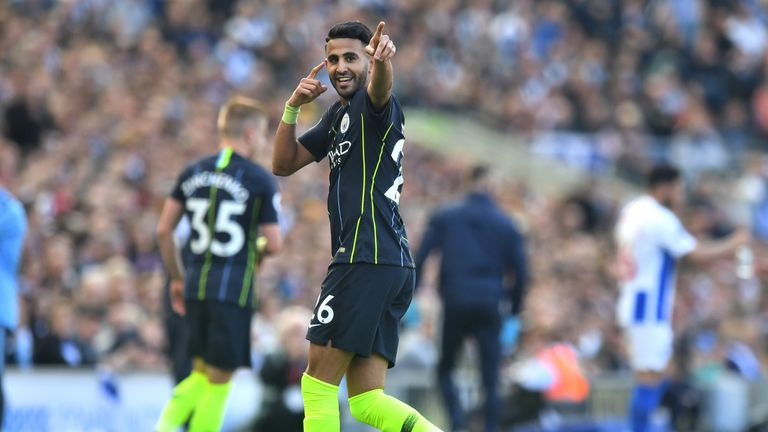 Riyad Mahrez of Manchester City celebrates after scoring his team's third goal