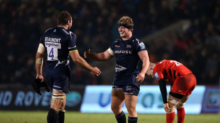 Ross Harrison was strong in defence for Sale against Gloucester