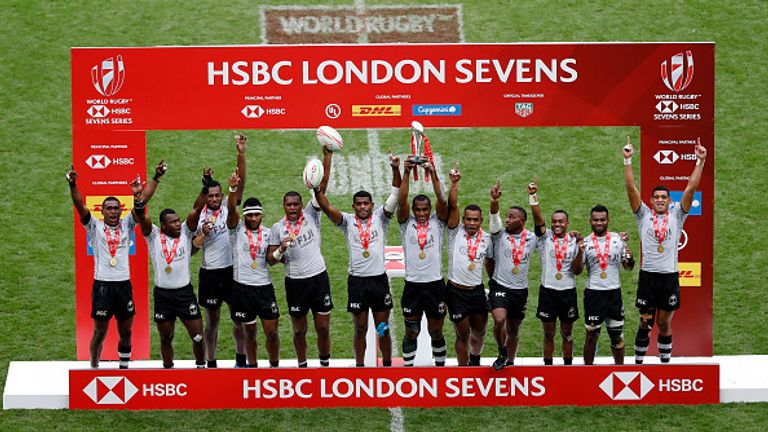 Fiji celebrate winning the London Sevens competition after their final win over Australia