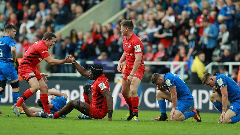 Saracens overpowered Leinster to lift a third European crown on Saturday
