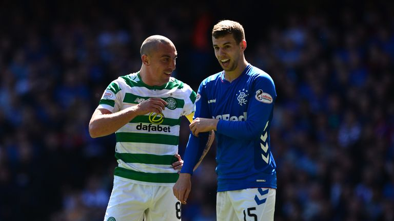 Celtic's Scott Brown and Rangers' Jon Flanagan during Sunday's Old Firm clash