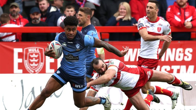 Kevin Naiqama scores one of his three tries against Hull KR