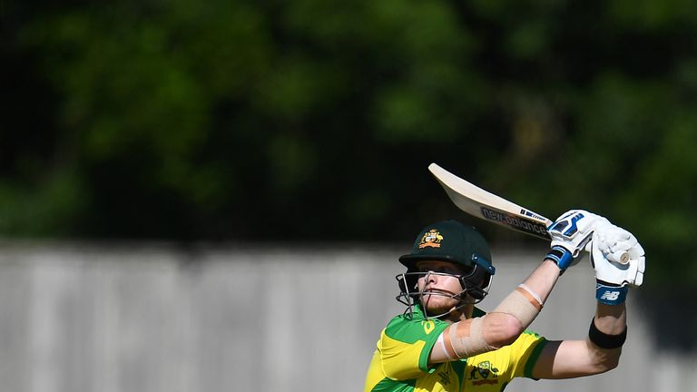 Steve Smith hit 76 in Australia's World Cup warm-up win over West Indies