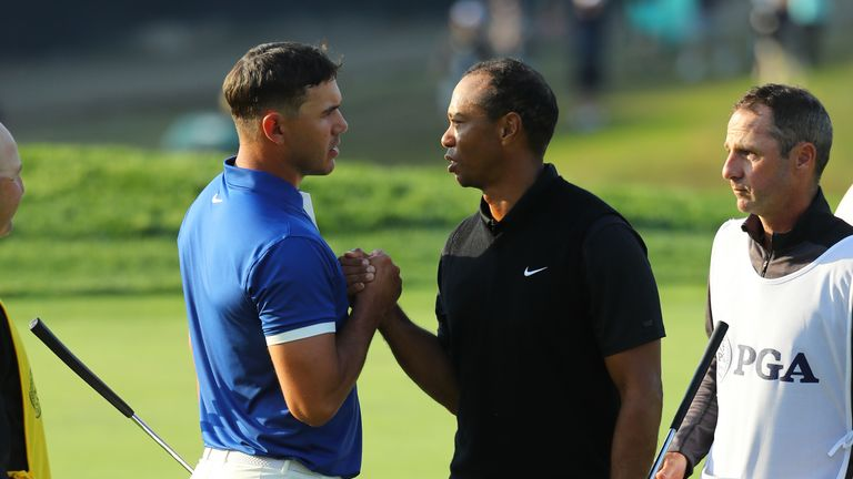 Woods and Koepka were grouped together at the PGA Championship in May