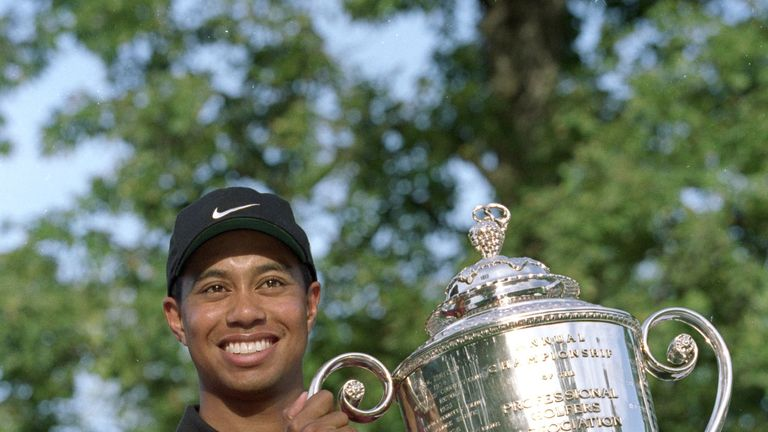 Woods won the first of his four PGA Championship titles in 1999