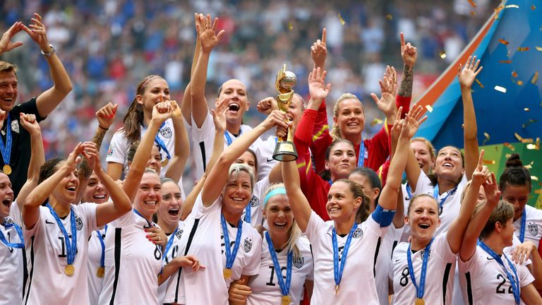 The USA team celebrate winning the 2015 World Cup in Vancouver