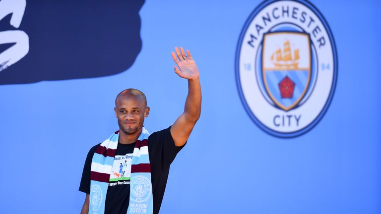 Kompany bade farewell to the City fans at an open-top bus parade on Monday