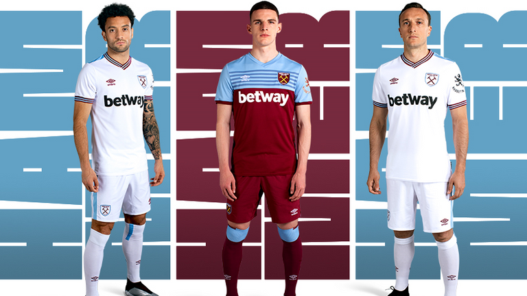 Felipe Anderson, Declan Rice and Mark Noble model the new West Ham strips