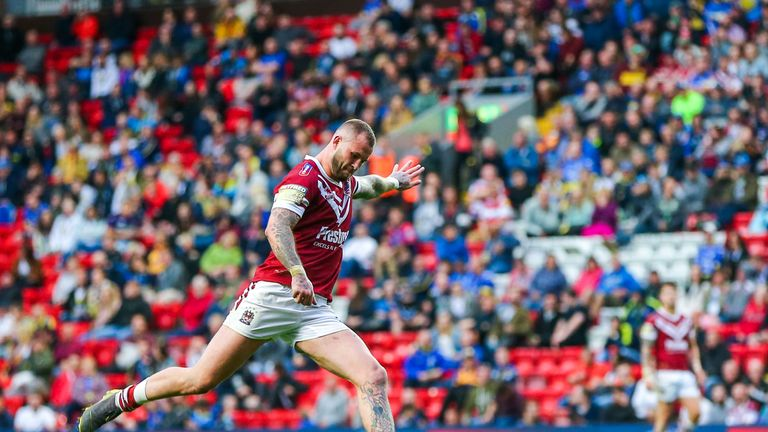 Zak Hardaker kicks a goal for Wigan in the Magic Weekend defeat to Warrington