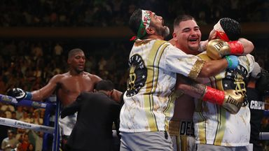 Andy Ruiz Jr celebrates victory over Anthony Joshua after landing one of the biggest heavyweight upsets in recent years to win the WBA, WBO and IBF titles