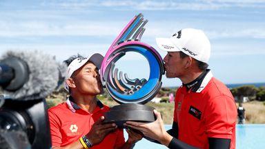 Thongchai Jaidee and Phachara Khongwatmai of Thailand celebrate victory at the GolfSixes