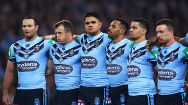 New South Wales Blues' Latrell Mitchell (centre) said the anthem did not represent him or his family.