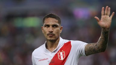 Paolo Guerrero celebrates his strike against Bolivia