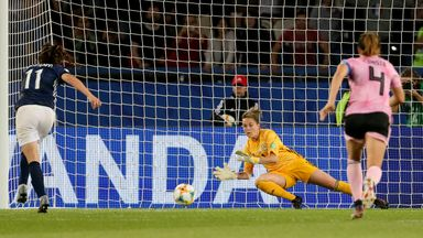Scotland goalkeeper Lee Alexander was ruled to have stepped off her line before saving Argentina's Florencia Bonsegundo penalty