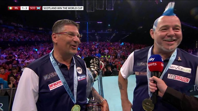 Peter Wright delights in Scotland's victory over the Republic of Ireland in the final of the World Cup of Darts.