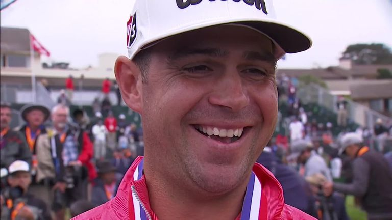 Gary Woodland celebrates being crowned a major champion for the first time after securing a three-shot win at the US Open