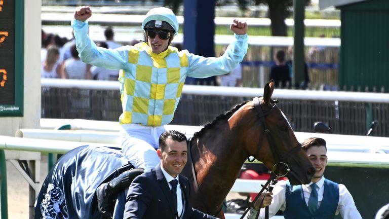 Jockey Pierre-Charles Boudot on Channel after winning the 170th Prix de Diane