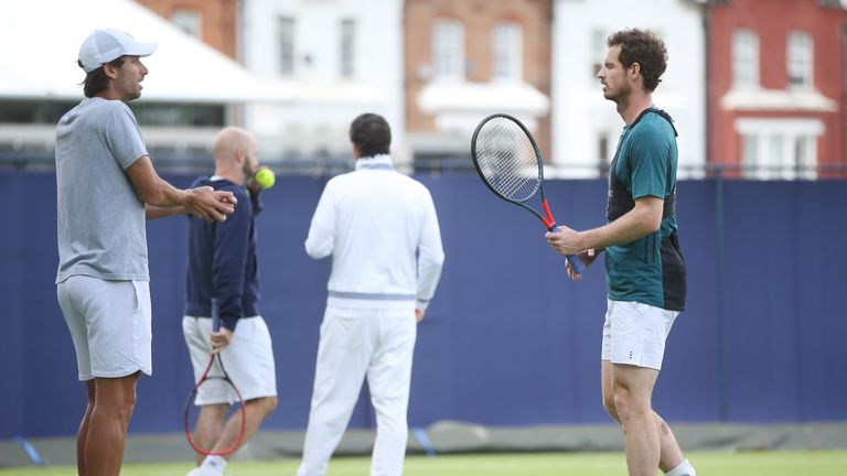 Andy Murray will make his comeback from a hip operation alongside Lopez on Thursday